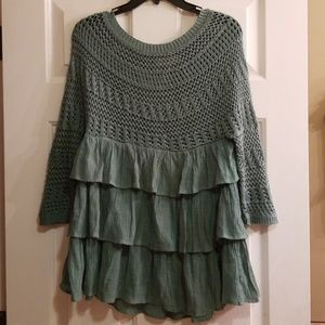 Entro green tiered tunic dress